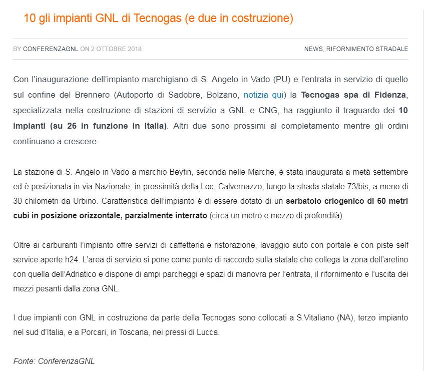Tecnogas sulla Newsletter di CONFERENZA GNL